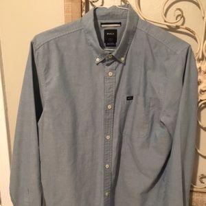 RVCA Blue Button Down Shirt - Large
